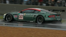 aston martin, dbr9, 2005, green, side view, style, sport, aston martin, auto, speed, wet asphalt - wallpapers, picture