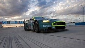 aston martin, dbr9, 2005, green, front view, style, sport, aston martin, auto, racing car, speed, clouds, asphalt - wallpapers, picture