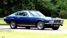 aston martin, dbs, 1967, blue, side view, retro, aston martin, auto, trees - wallpapers, picture