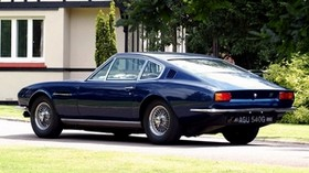 aston martin, dbs, 1967, blue, side view, style, retro, house, trees - wallpapers, picture