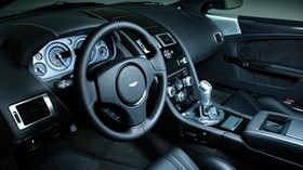 aston martin, dbs, 2008, black, salon, interior, steering wheel, speedometer - wallpapers, picture