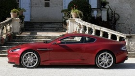 aston martin, dbs, 2008, red, side view, aston martin, auto, building - wallpapers, picture