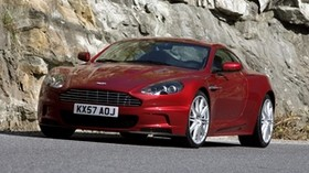 aston martin, dbs, 2008, red, front view, rock, aston martin, asphalt - wallpapers, picture