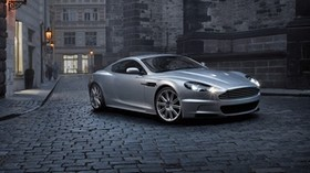 aston martin, dbs, 2008, silver metallic, side view, auto, aston martin, houses, street - wallpapers, picture