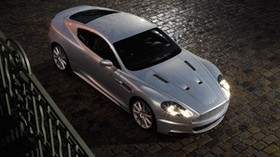 aston martin, dbs, 2008, silver metallic, top view, style, aston martin, auto, rain - wallpapers, picture