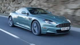 aston martin, dbs, 2008, green, side, rock, aston martin, auto - wallpapers, picture