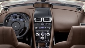 aston martin, dbs, 2009, brown, salon, interior, steering wheel, speedometer - wallpapers, picture