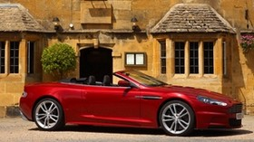 aston martin, dbs, 2009, red, side view, convertible, auto, aston martin, house - wallpapers, picture