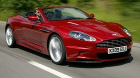 aston martin, dbs, 2009, red, side view, speed, aston martin, trees, cars - wallpapers, picture