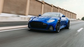 aston martin dbs, aston martin, sports car, blue, front view, road, speed - wallpapers, picture