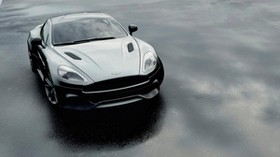 aston martin dbs v12, aston martin, black, front view - wallpapers, picture