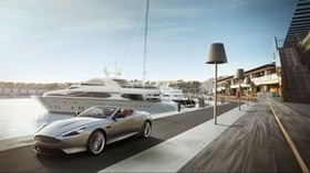 aston martin, convertible, pier, yachts, movement - wallpapers, picture