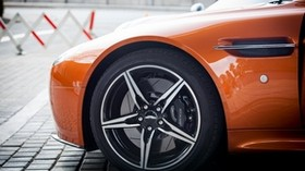 aston martin, wheel, tire, car, orange - wallpapers, picture