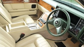 aston martin, lagonda, 1987, white, salon, interior, steering wheel - wallpapers, picture