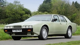 aston martin, lagonda, 1987, green, front view, retro, aston martin, trees - wallpapers, picture