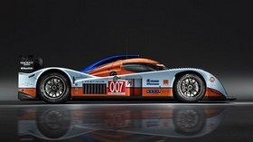 aston martin, lmp1, 2009, white, orange, side view, sports, aston martin, auto - wallpapers, picture