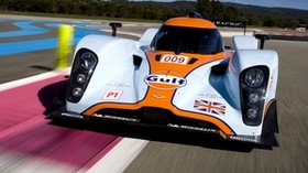 aston martin, lmp1, 2009, white, front view, sport, aston martin, speed, asphalt - wallpapers, picture