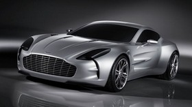 aston martin, one-77, 2008, concept car, metallic gray, front view, reflection - wallpapers, picture