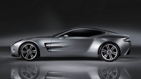 aston martin, one-77, 2008, concept car, gray, side view, aston martin, reflection - wallpapers, picture