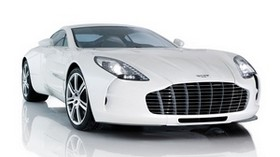 aston martin, one-77, 2009, white, front view, style, aston martin, reflection - wallpapers, picture