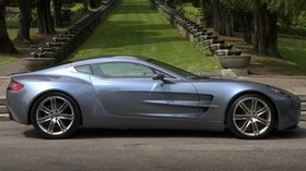 aston martin, one-77, 2009, metallic blue, side view, auto, aston martin, nature - wallpapers, picture