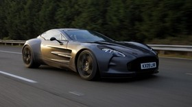 aston martin, one-77, concept car, 2009, black, side view, sport, trees - wallpapers, picture