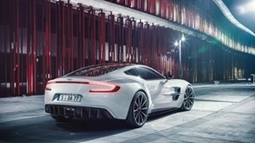 aston martin, one-77, white, rear view - wallpapers, picture