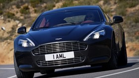 aston martin, rapide, 2009, black, front view, style, aston martin, asphalt - wallpapers, picture