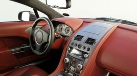 aston martin, rapide, 2009, red, salon, interior, steering wheel, speedometer - wallpapers, picture