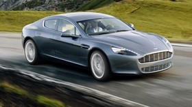 aston martin, rapide, 2009, gray, side view, aston martin, speed, rocks - wallpapers, picture