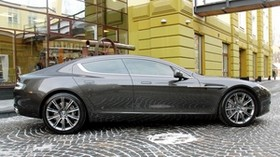 aston martin, rapide, 2011, gray, side view, aston martin, building - wallpapers, picture