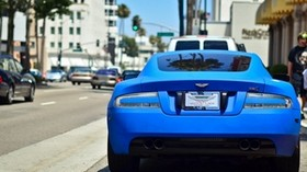 aston martin, blue, car, rear view - wallpapers, picture