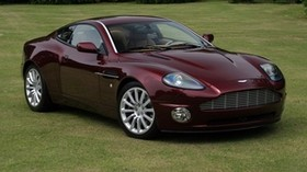 aston martin, v12, vanquish, 2001, burgundy, side view, style, aston martin, grass - wallpapers, picture