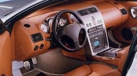 aston martin, v12, vanquish, 2001, salon, interior, steering wheel, speedometer - wallpapers, picture