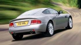 aston martin, v12, vanquish, 2001, silver, rear view, auto, aston martin, speed - wallpapers, picture
