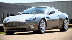 aston martin, v12, vanquish, 2001, gray, side view, style, aston martin, building - wallpapers, picture