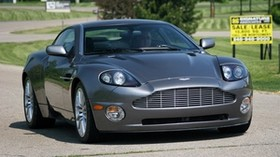 aston martin, v12, vanquish, 2001, gray, front view, aston martin, trees - wallpapers, picture