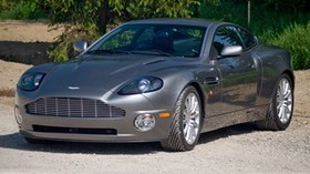 aston martin, v12, vanquish, 2001, gray, front view, aston martin, grass - wallpapers, picture
