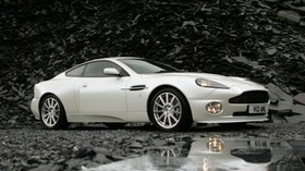 aston martin, v12, vanquish, 2004, white, side view, aston martin, reflection - wallpapers, picture