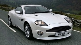 aston martin, v12, vanquish, 2004, white, front view, auto, aston martin, mountains - wallpapers, picture