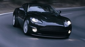 aston martin, v12, vanquish, 2004, black, front view, aston martin, asphalt - wallpapers, picture