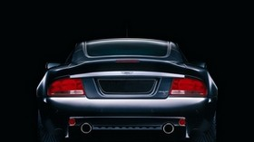 aston martin, v12, vanquish, 2004, black, rear view, style, aston martin - wallpapers, picture