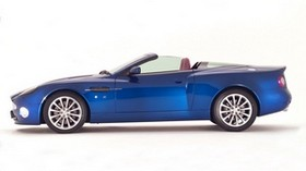 aston martin, v12, vanquish, 2004, blue, side view, style, aston martin, auto - wallpapers, picture