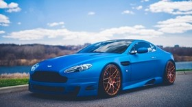 aston martin, v12, vantage, blue, side view, tuning - wallpapers, picture