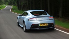 aston martin, v12, zagato, 2009, rear view, metallic blue, speed, aston martin, auto, forest - wallpapers, picture