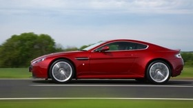 aston martin, v12, zagato, red, side view, auto, speed, nature - wallpapers, picture
