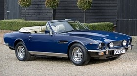 aston martin, v8, 1977, blue, side view, convertible, aston martin, building - wallpapers, picture