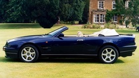 aston martin, v8, 1997, blue, side view, convertible, house, aston martin, nature - wallpapers, picture