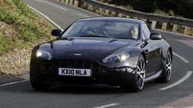 aston martin, v8, 2010, black, front view, car, aston martin, asphalt - wallpapers, picture