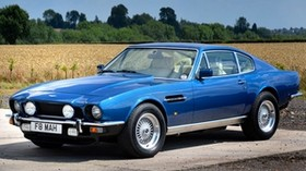 aston martin, v8, saloon, 1972, blue, side view, auto, aston martin, nature - wallpapers, picture